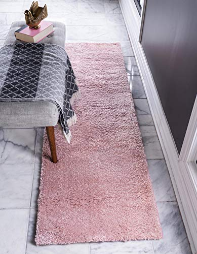 Unique Loom Solo Collection Solid Plush Kids Pink Runner Rug (2' 2 x 6' 7) from Unique Loom