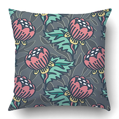 Inspired William Morris (Emvency Square 18x18 Inches Decorative Pillowcases Seamless William Morris Inspired Background Pattern Cotton Polyester Decor Throw Pillow Cover With Hidden Zipper For Bedroom Sofa)