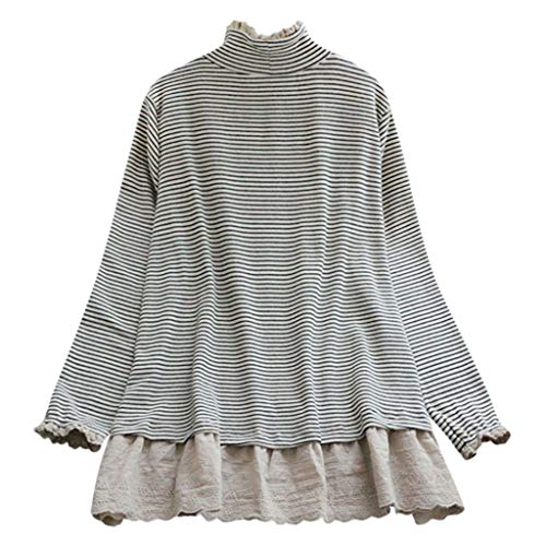 Snowlily Blouse for Women,Summer Casual Fashion Printed Large Size High Collar Lace Crochet Striped Top Elastic Shirt Beige ()