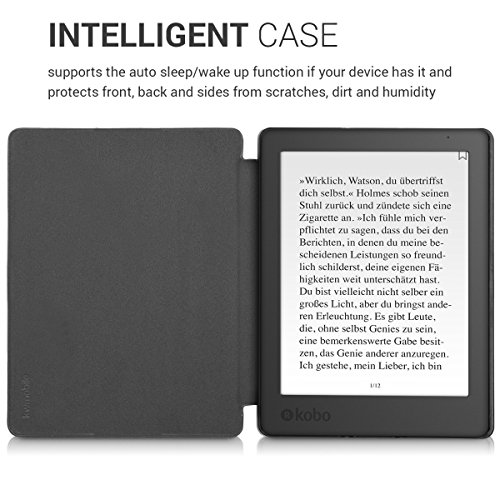 kwmobile Case Compatible with Kobo Aura H2O Edition 2 - PU e-Reader Cover - Travel Vintage Brown/Light Brown