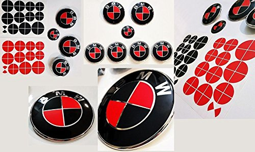 MATTE BLACK and MATTE RED Sticker Overlay Vinyl for All BMW Emblems Caps Logos Roundels ()