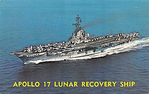 Military Battleship Postcard, Old Vintage Antique Military Ship Post Card Apollo 17 Lunar Recovery Ship, USS Ticonderoga Unused