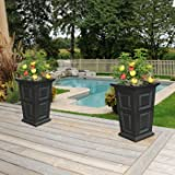 24'' Tall Black Planter Self-watering Tray 2-pack