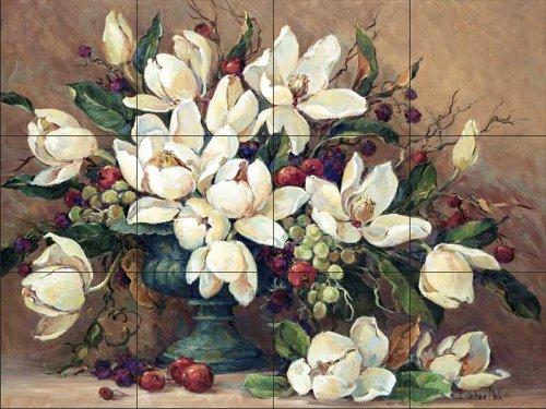Ceramic Tile Mural - Floral Elegance - by Barbara Mock - Kitchen backsplash/Bathroom shower