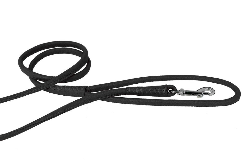 Dogline Soft and Padded Rolled Round Leather Leash for Dogs W3/8'' - L72, Black