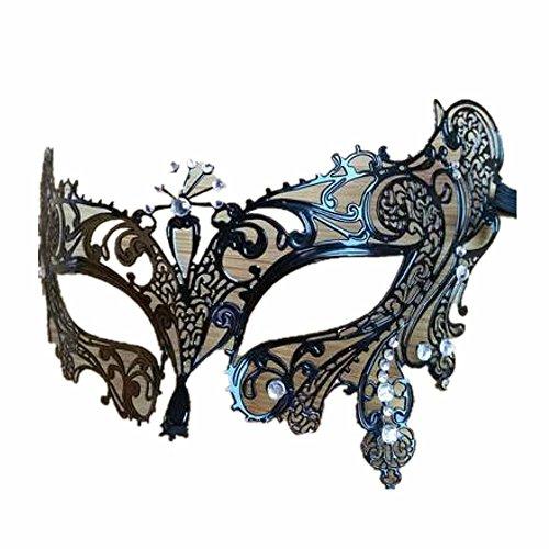 - Mardi Gras Party Masquerade Mask,Mask Dance mask Party Half face mask mask Female Metal mask Black Flower Fairy White Diamond Prom Masks