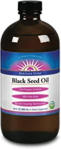 Heritage Store® Black Seed Oil | 100% Pure Virgin, Certified Organic, Cold Pressed, Unrefined | Supports Hair, Skin, Healthy Weight & More | 16 fl oz