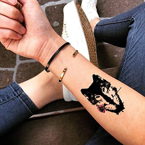 Lobo Rosa Etiqueta engomada Falso Temporal del Tatuaje (Juego de 2) - TOODTATTOO.COM