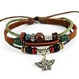 Charm Butterfly Pendant Green Braided Rope Handmade Leather Bracelet