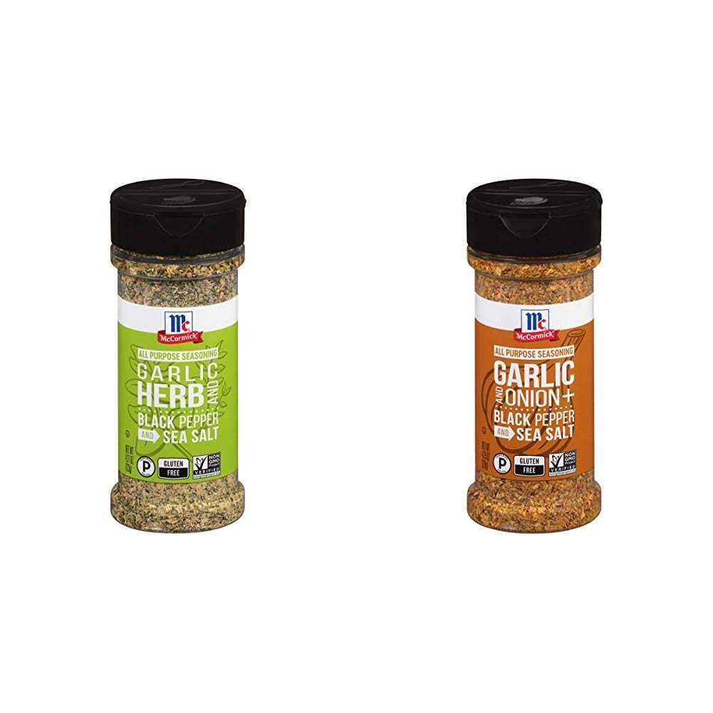 McCormick Garlic, Herb, Black Pepper & Sea Salt All Purpose Seasoning, 4.37 oz & McCormick Garlic, Onion, Black Pepper & Sea Salt All Purpose Seasoning, 4.25 oz
