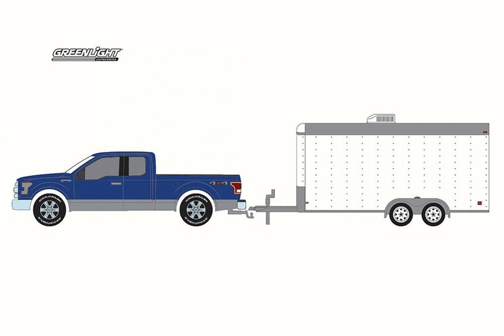 Greenlight 32091 2015 Ford F 150 and White Car Hauler Hitch Tow Hobby Exclusive 1 64 Diecast Model Car