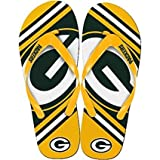 NFL Football Unisex Gradient Big Logo Beach Summer Flip Flop Sandals - Pick Team (Green Bay Packers, Large)
