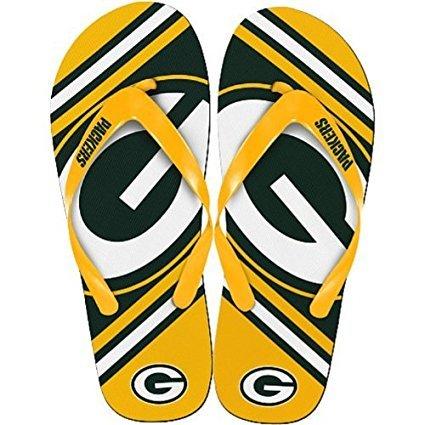 NFL Football Unisex Gradient Big Logo Beach Summer Flip Flop Sandals - Pick Team (Green Bay Packers, - With Balls Logo Beach