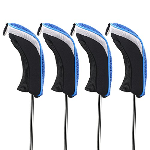 (Hipiwe Golf Hybrid Club Head Covers Set 4pcs Club Irons Headcovers with Interchangeable No. Tag (Blue))