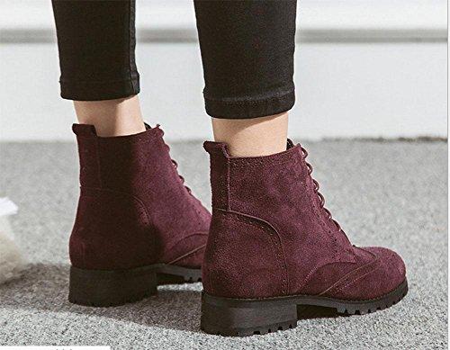 botas de tacones wine red europeo zapatos Martin KESI estilo color hechizo ante de mujer moda Botas encaje bajos casual americano y gqHHT67W
