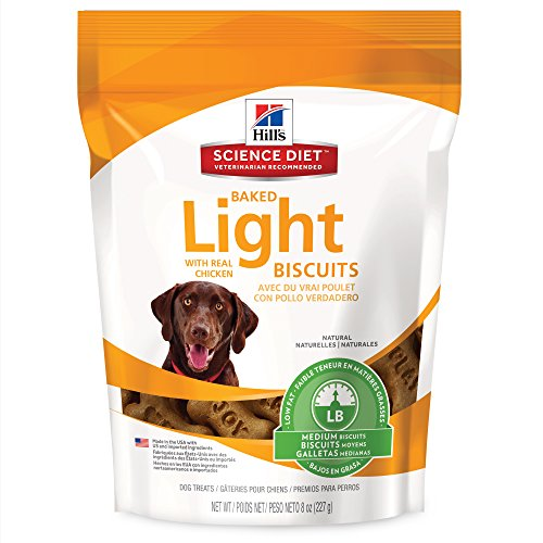Hill's Science Diet Light Dog Snacks, Baked Light Dog Biscuits with Real Chicken Medium Dog Treats, Healthy Dog Treats, 8 (Baked Dog Treats)