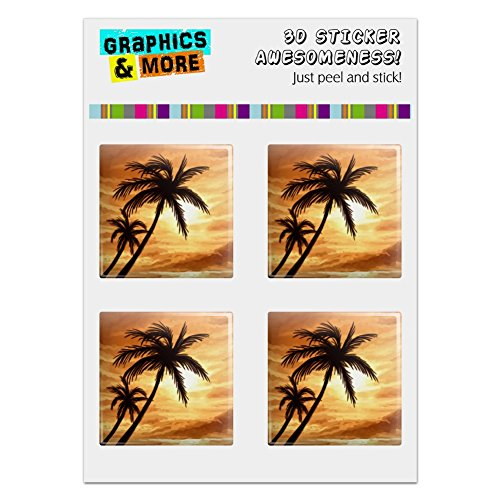 (GRAPHICS & MORE Sunset on Tropical Beach Palm Trees Hawaii Orange Computer Case Modding Badge Emblem Resin-Topped 1