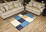 """Cheap Modela Collection Geometric Abstract Area Rugs New Vibrant Colors (Navy Blue Teal, 4'9″ x 6'10"""")"""