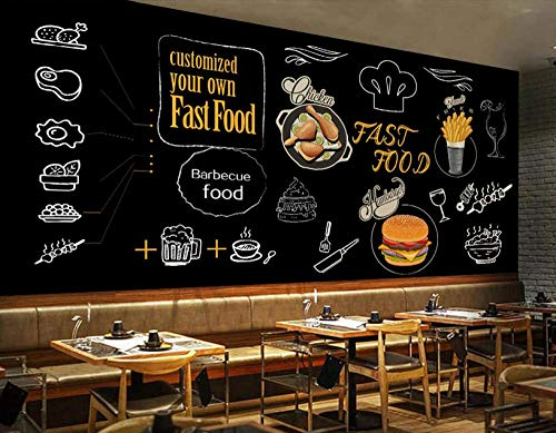 Wanghan 3D Wallpaper Custom Wallpaper Europe and America Blackboard Hand Painted Burger Fried Chicken Graffiti Background Coffee Hall Western Restaurant Wall Mural-250Cmx175Cm