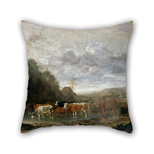 20 X 20 Inches / 50 By 50 Cm Oil Painting Van Borssum, Anthonie - Landscape With Cattle Pillowcover,two Sides Is Fit For Girls,dance Room,kids Boys,wife,birthday,boys