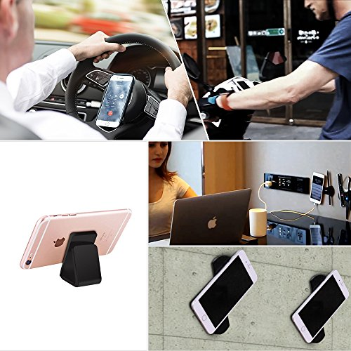 Phone 7 Plus Stand | iPhone X Car Holder,iPhone Sticky Pad for all Android Smartphone and iPhone,Gel Pads,Nano Pad,Stick to Anywhere (Black- 2 Units) (Anywhere Telephone Table)