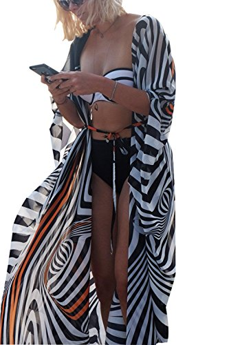 Foerverlonely Women Summer Boho Floral Bikini Cover up Long Kimono Cardigans Sarong Wrap Pareo Anti-Sun Cardigan One Size (Black/White)