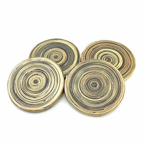 Spun Bamboo Coasters Unique Design Handcrafted in Mulberry Paper storage Box for Hot/Cold drink (Set of 4) (Black)