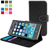 iPhone 5 / 5s Case, Snugg® - Leather Wallet Case with Lifetime Guarantee (Black) for Apple iPhone 5 / 5s