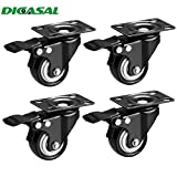 "DICASAL 2"" Heavy Duty Swivel Plate Casters PU Foam Quite Mute No Noise Castors Markless Rubber Wheels Double Bearings and Locks Loading 300 Lbs Pack of 4 with Brake Black"