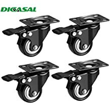 """DICASAL 2"""" Heavy Duty Swivel Plate Casters PU Foam Quite Mute No Noise Castors Markless Rubber Wheels Double Bearings and Locks Loading 300 Lbs Pack of 4 with Brake Black"""