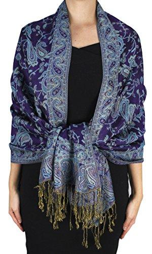 Peach Couture Elegant Double Layer Reversible Paisley Pashmina Shawl Wrap Scarf Eggplant ()