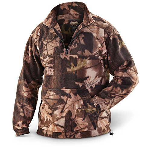 Guide Gear Men's Quarter Zip Camo Fleece Pullover Jacket, Camo, L