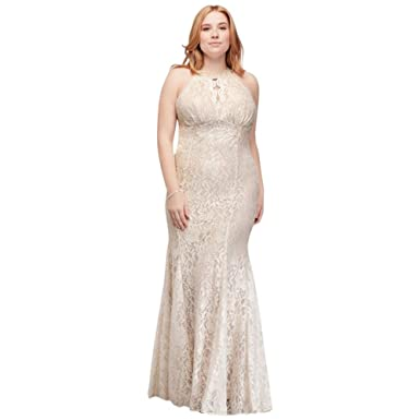 Long Glitter Lace Halter Plus Size Dress Style 21416W at ...