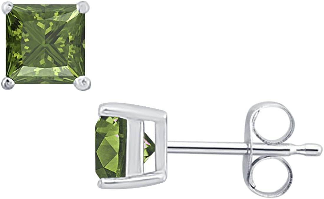 Fancy Party Wear Round Cut Green Emerald Solitaire Stud Earrings 14K Rose Gold Over .925 Sterling Silver For Womens /& Girls 3MM TO 10MM