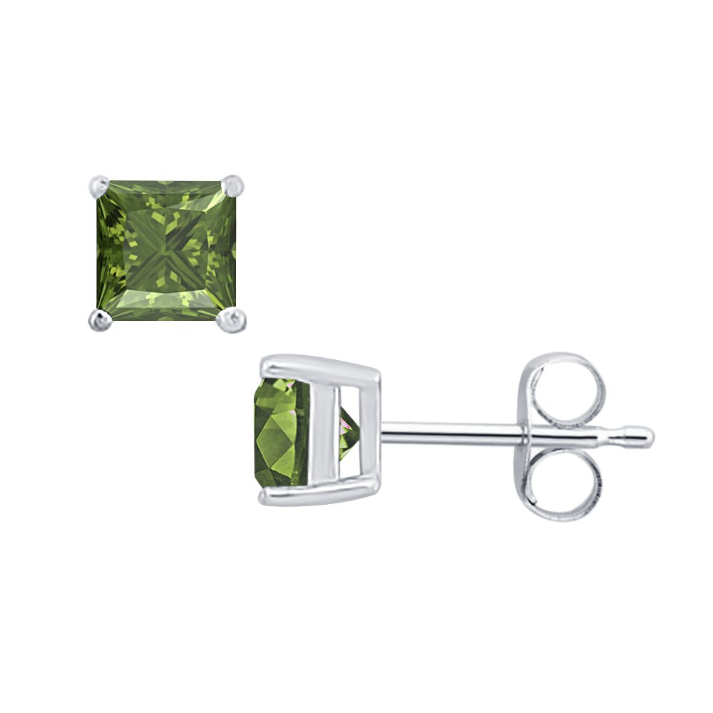 3MM TO 10MM SVC-JEWELS Princess Cut Green Tourmaline Solitaire Stud Earrings 14K White Gold Over .925 Sterling Silver For Womens /& Girls