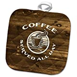 3dRose Russ Billington Designs - Coffee Served All Day- Ivory Text on Brown Wood- not Real Wood - 8x8 Potholder (PHL_293746_1)