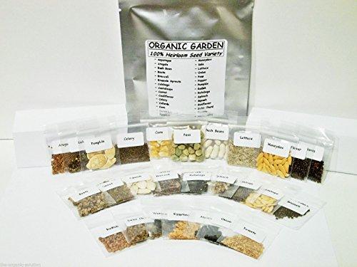 Emergency Survival Vegetable Fruit Garden Seed Heirloom Prepper Lot Kit MRE Food 30 Varieties by Organic Garden