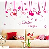 "BIBITIME Hanging Heart Decor Stikcer Valentines Day Love Wall Border Decals for Girls Room Kids Bedroom Vinyl Saying ""With Lover For You"" Quotes Sticker"