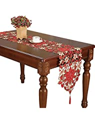 Simhomsen Christmas Holiday Poinsettia Lace Table Runners And Dresser  Scarves 13 By 120 Inch