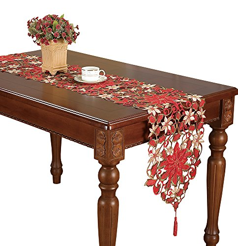 Simhomsen Christmas Holiday Poinsettia Lace Table Runners And Doilies 13 By 36 Inch- Doily Runner