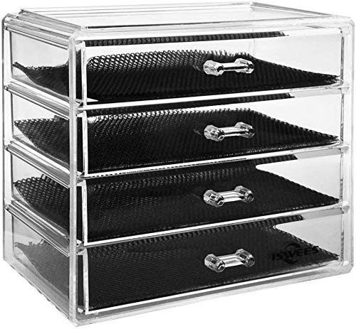 ISWEES Large Capacity Cosmetic/Makeup Organizer Transparent Acrylic Jewelry Watches Display Boxes Bathroom Storage Insert Brush Holder Case (9.2x5.1x7.7inches)
