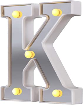 LED Marquee Letter Lights, 26 Alphabet Light Up Letters Sign Perfect for Night Light Wedding Birthday Party Christmas Lamp Home Bar Decoration (Silver,K)
