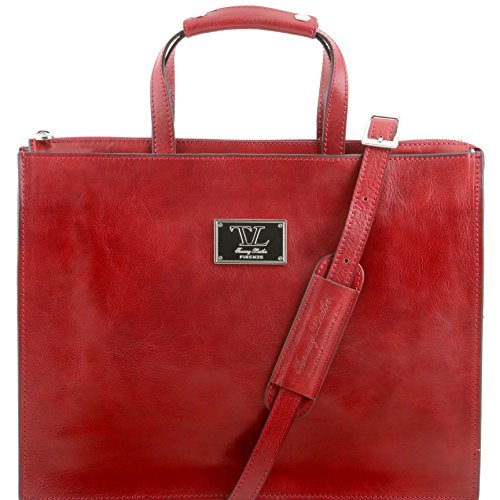 81413434 - TUSCANY LEATHER: PALERMO - Serviette en cuir avec 3 compartiments, rouge