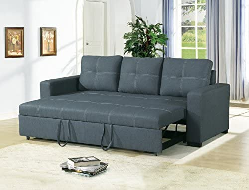 Cool Esofastore Convertible Sofa Bed Bobkona Living Room Sofa W Pull Out Bed Accent Stitching Comfort Couch Blue Grey Polyfiber Caraccident5 Cool Chair Designs And Ideas Caraccident5Info