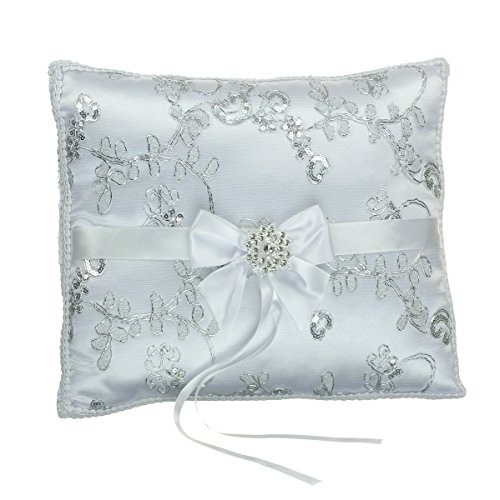 Diva Genuine Ring - Satin Wedding Ring Pillow - Metallic Embroidery Crystal Pendant - Silver Tone White