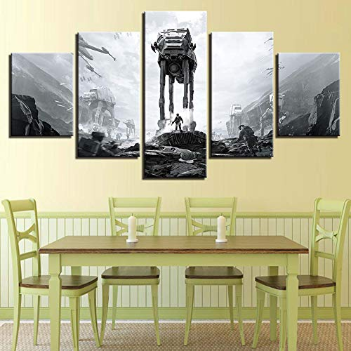 OJKYK Star Wars Battle Canvas Prints Wall Art Home Decor Giclee 5 Pieces Painting Movie Poster Modern Home Decor for Living Room,B,10x15x2+10x20x2+10x25x1 ()