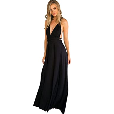 f45f9af270 Image Unavailable. Image not available for. Color  Rambling Women Sexy Deep  V Halter Bandage Back Criss Cross Party Evening Dress Elegant Maxi Dresses