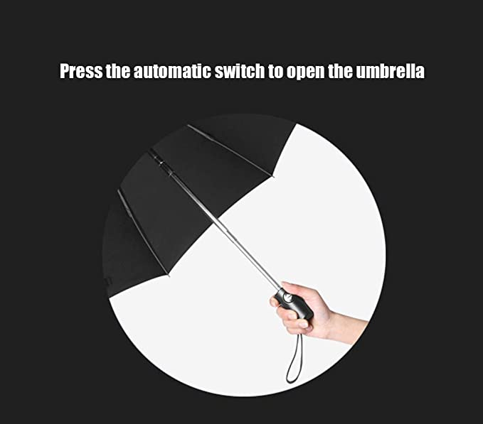 Windproof Umbrella Anti-Windmill Automatic Opening Umbrella,Black YRRC Fully Automatic Reverse Umbrella Compact Rainproof