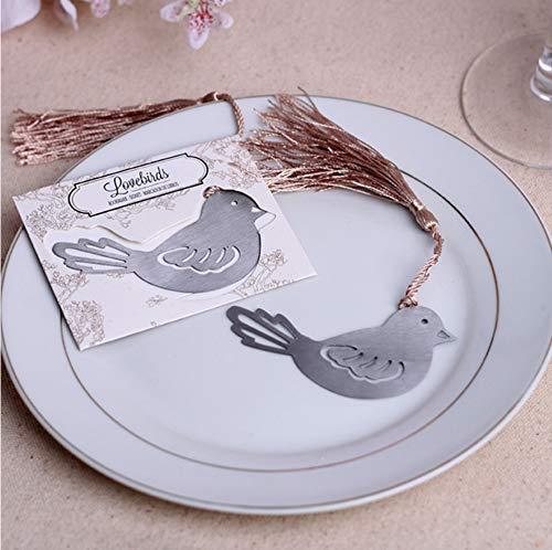 BLUKAUMX-marca página PAJARO en metal con borla, separador de libro Marks recuerdos de boda Baby Shower Party Favors y...