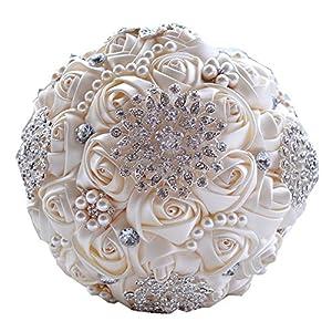 Jackscale JACKCSALE Wedding Bride Bridal Bouquet Brooch Bouquet Bridesmaid Valentine's Day Bouquet Confession (D453 Creamy)